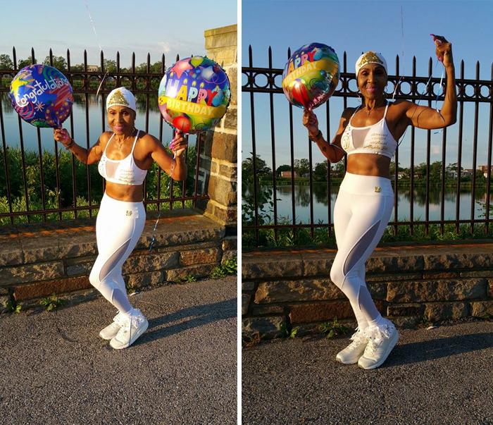 Ernestine Shepherd con globos de celebración