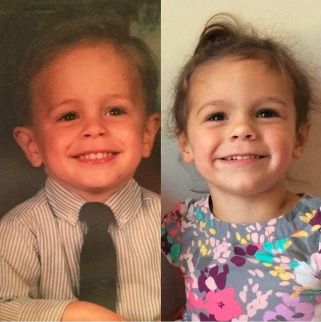 niña y padre idénticos