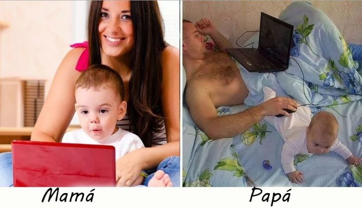 Papás e hijos con la computadora