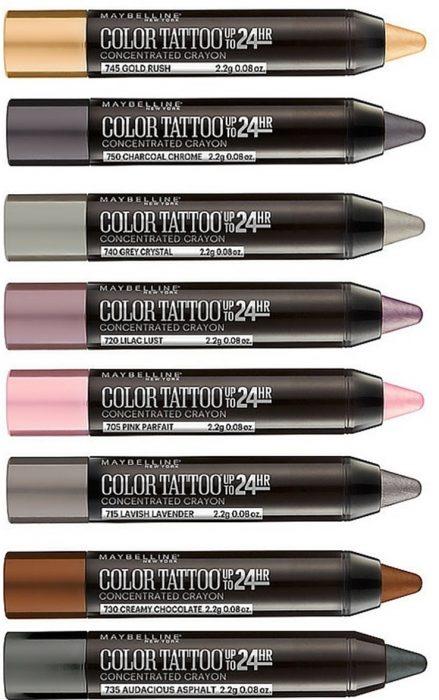 Sombra indeleble en varios colores.
