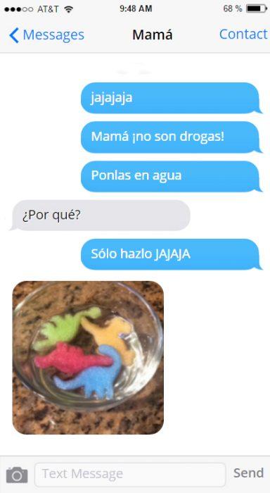Mensajes madre e hija pastillas de colores que son dinosaurios