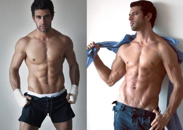 Christian de la Campa posando sin camisa