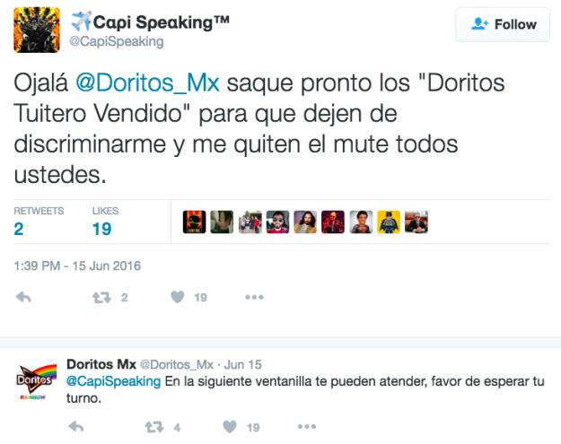 Doritos contesta comentarios en Twitter