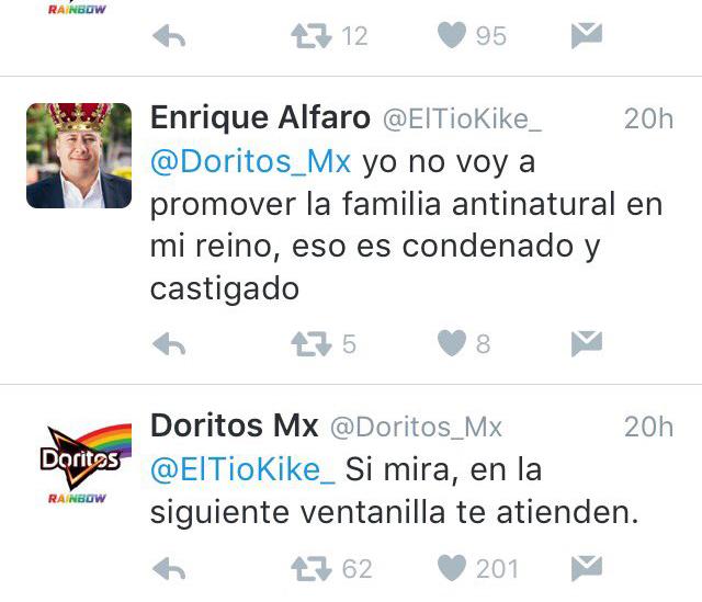 Tweet de respuesta de Doritos a Enrique Alfaro