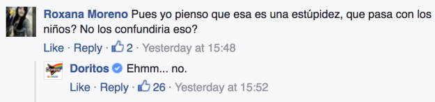 Doritos responde en Facebook