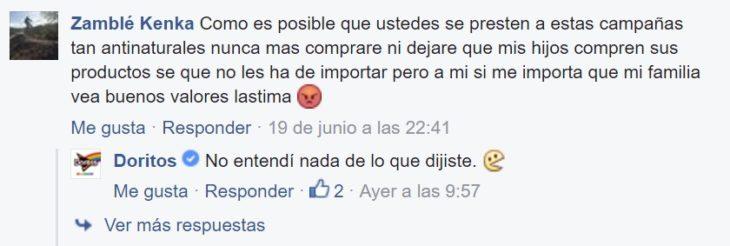 Captura de pantalla del facebook de Doritos