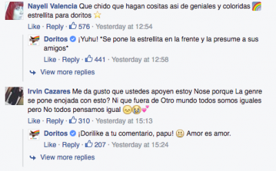 Captura de comentarios de Doritos