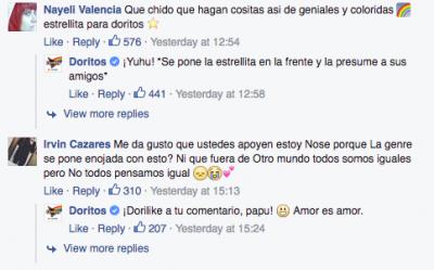 Captura de comentarios de Doritos