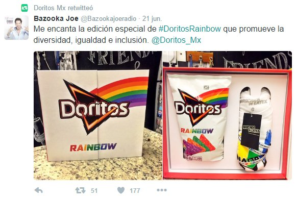 Tweet de Bazooka referente a Doritos Rainbow