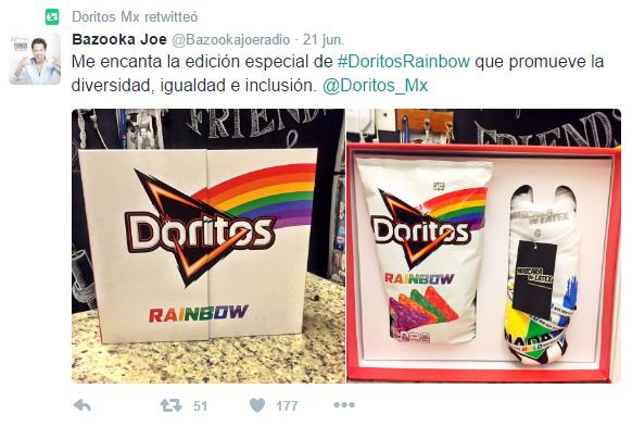 Tweet de Bazooka referente a Doritos Rainbow