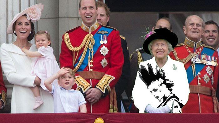 Reina Isabel vestida como una mujer punk