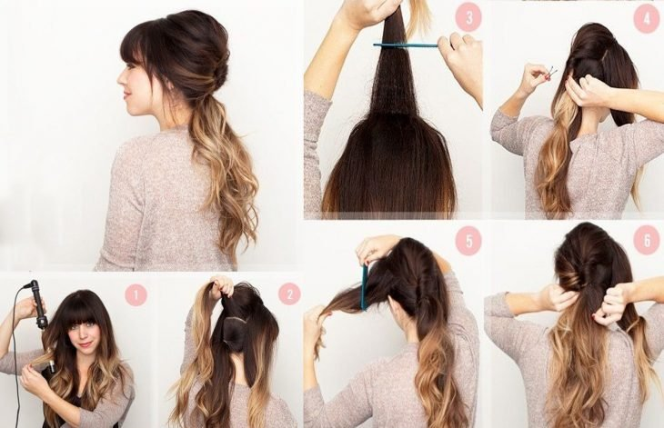 Chica usando una coleta envuelta con dos trozos de cabello