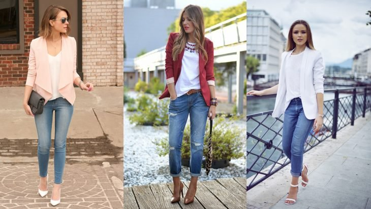Chica usando outfit con blazer