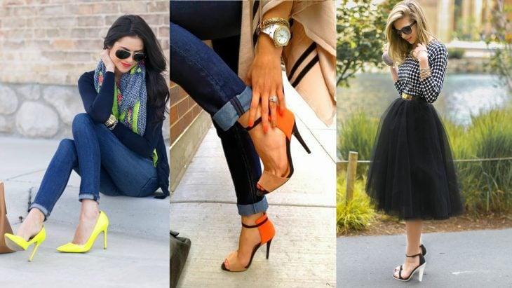 Chicas usando tacones que resaltan su figura