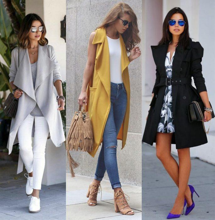 Chicas usando outfits que tienen gabardinas largas o trench coats