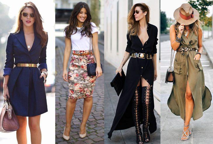 Chicas usando outfits que tienen cinturones