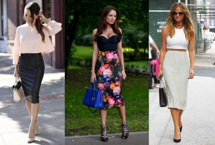 Chicas usando outfits con faldas rectas o de lápiz