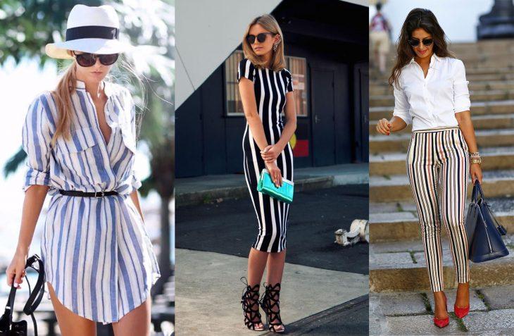 Chicas usando outfits de rayas verticales