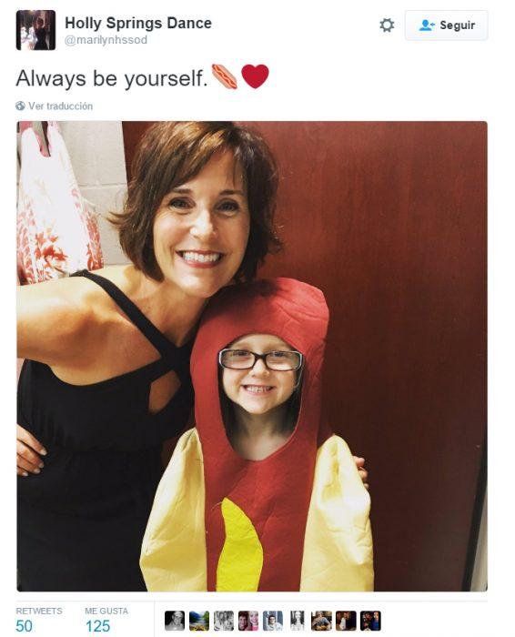 Comentario en twitter sobre la princesa hot dog donde dice que seas tu misma