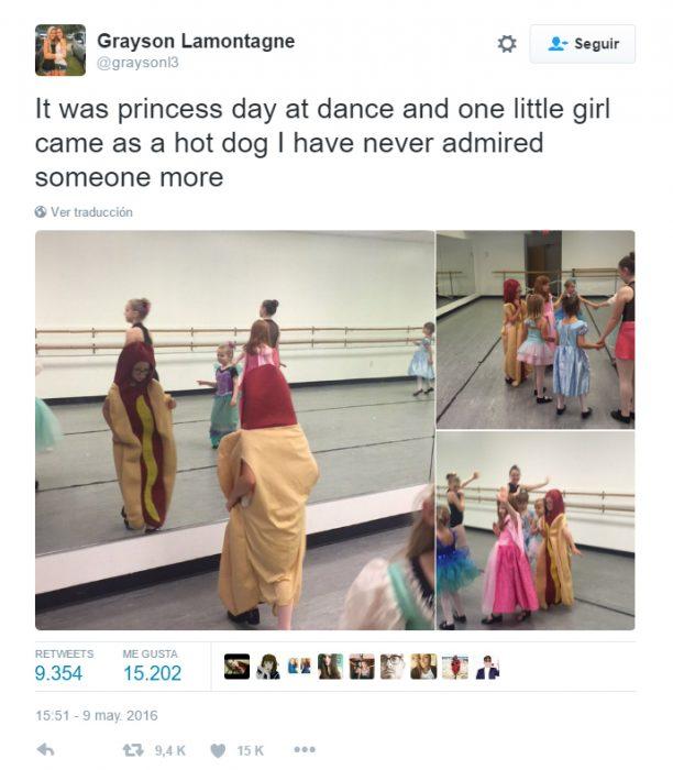 Comentario en Twitter sobre la princesa hot dog