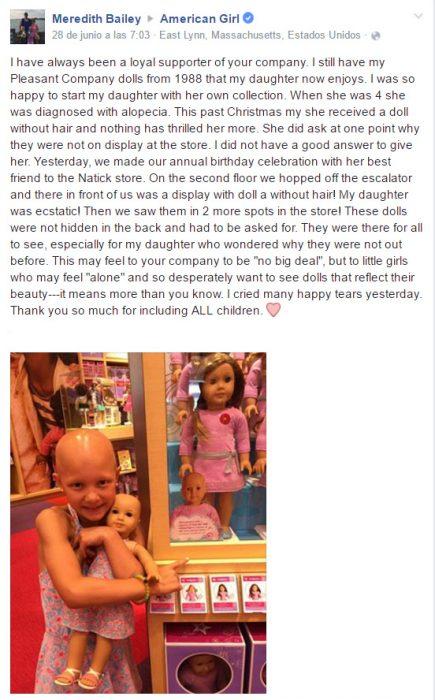 Publicación en facebook sobre una muñeca calva