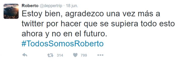comentario de twitter Todos Somos Roberto