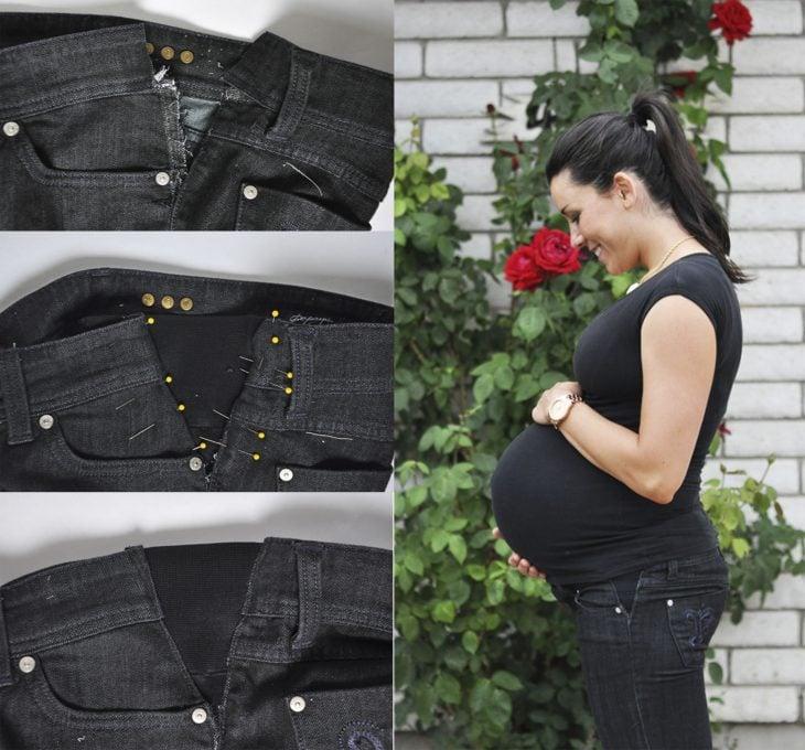 Chica modificando sus pantalones de embarazada con elástico