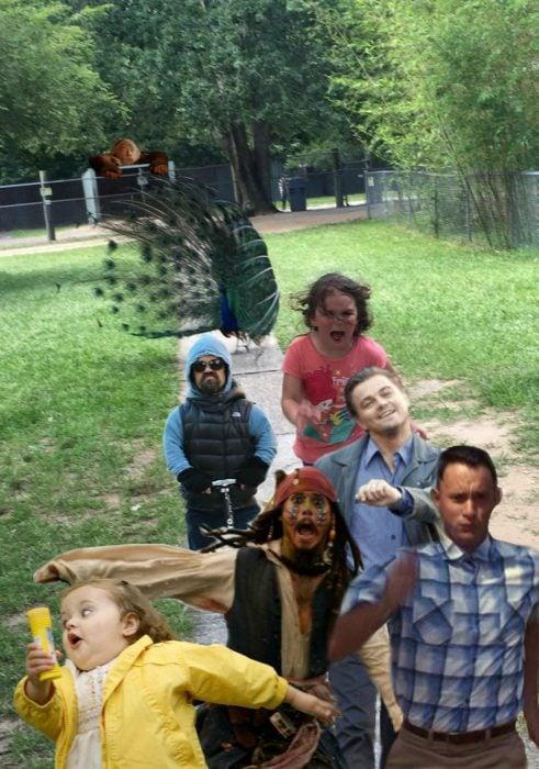 niña corriendo de pavo real con otros memes famosos corriendo