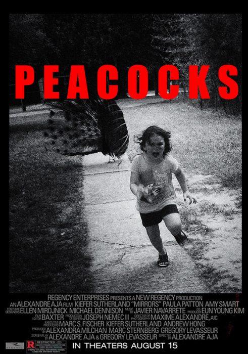 cartel de película de terro con niña corriendo