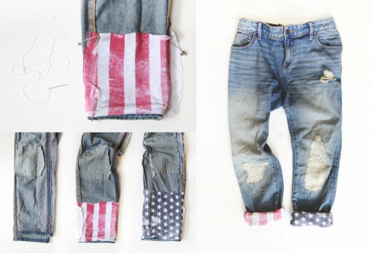 jeans con decoracion de bandera de estados unidos