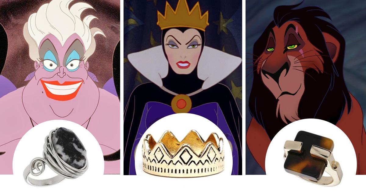 anillos inspirados en los villanos de disney