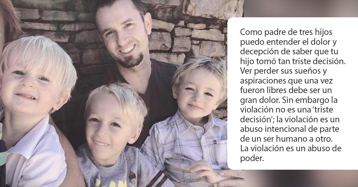 Carta de un padre de 3 hijos casado con una víctima de violación