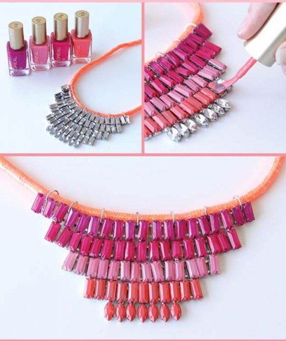 collar de joyas pintadas con esmaltes de uñas