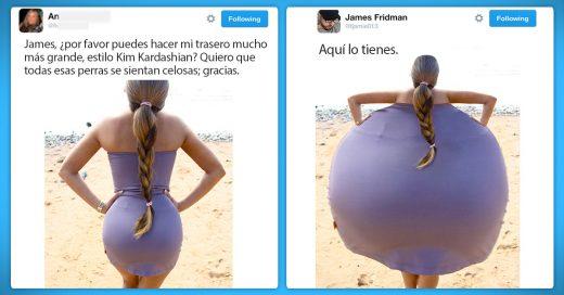 """James Fridman se hizo famoso en Twitter por su ingenioso talento con el Photoshop, haciendo """"favores"""" a sus seguidores."""