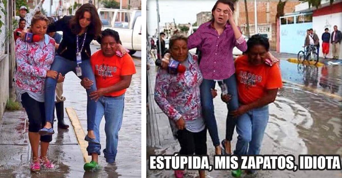 #LadyReportera: Cubre las inundaciones en Puebla y pide que la carguen para no mojarse los pies