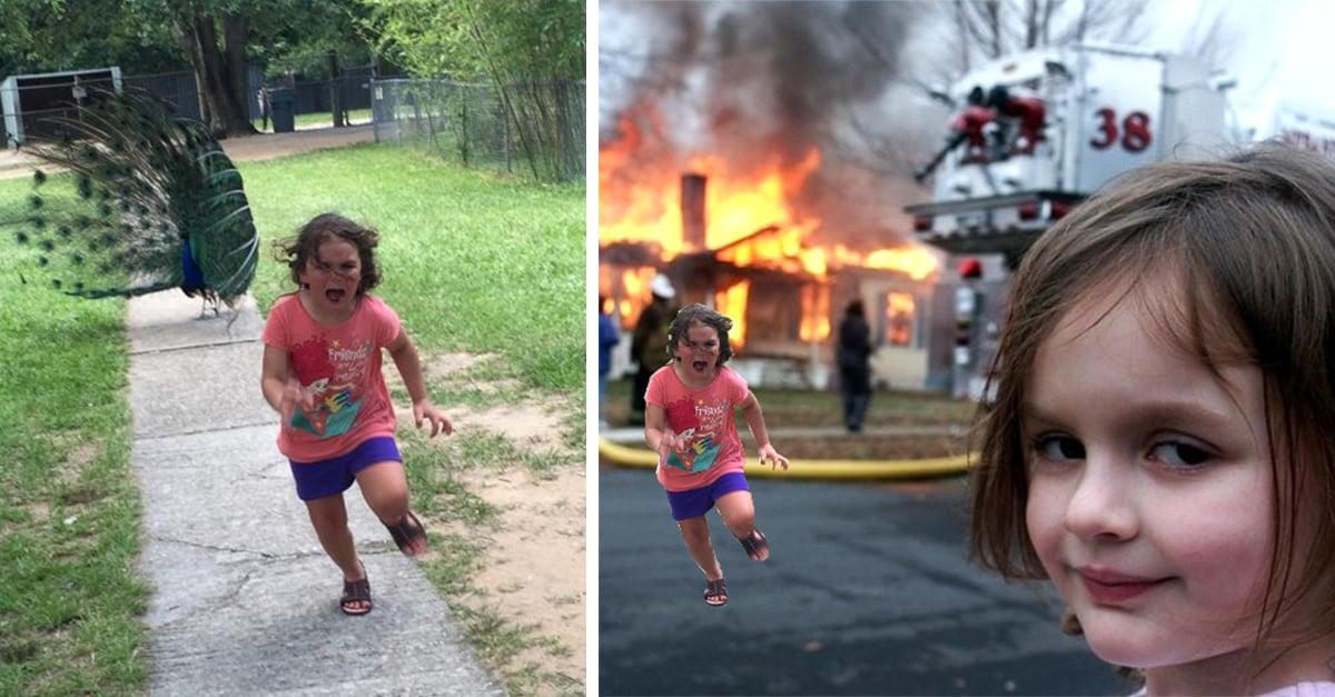 Una niña huye de un pavo real y es la sensación en Internet