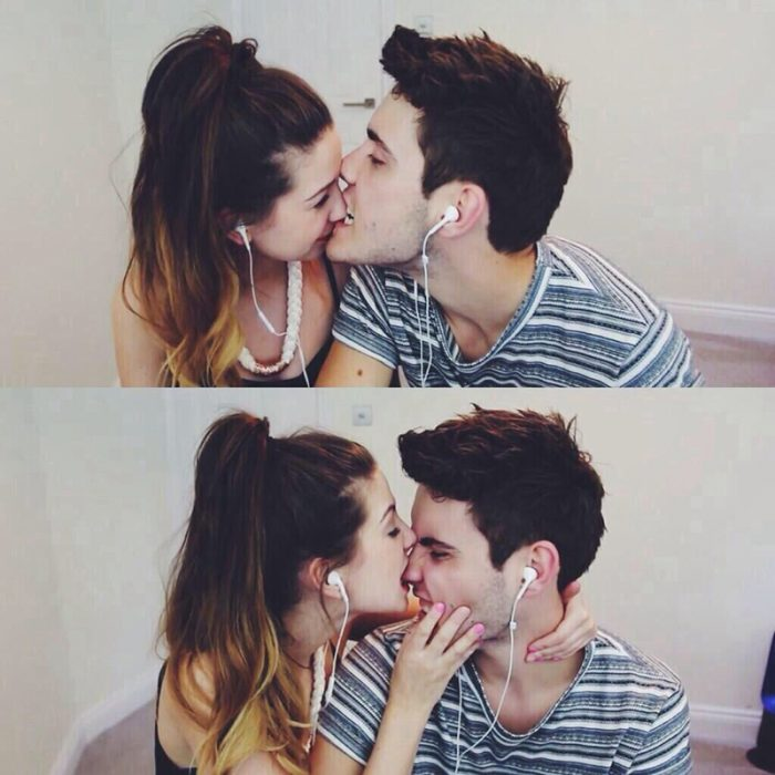 hombre le da beso en la nariz a mujer