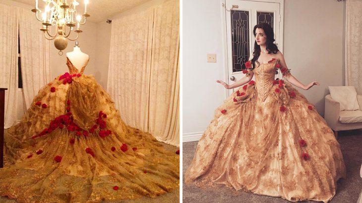 Chica vestida de la bella durmiente con un disfraz creado por Nefie García