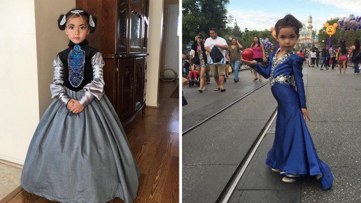 Niña luciendo vestidos de Disney hechos por su papá nefi garcía