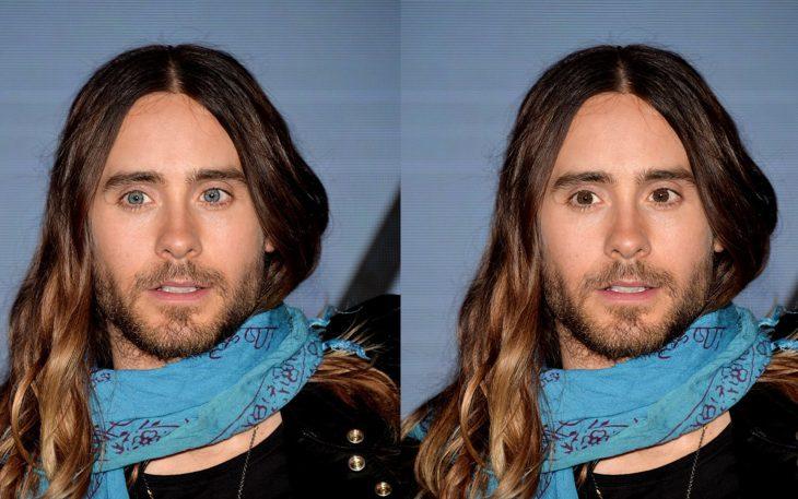 Jared leto con los ojos de color azul y después en color verde