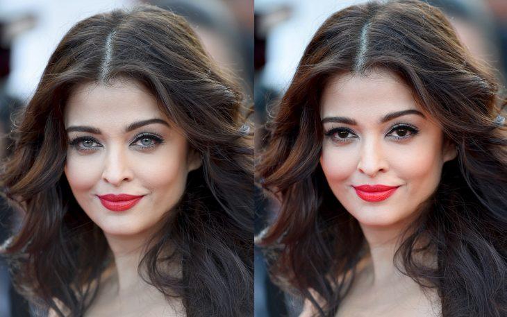 Aishwarya Rai con los ojos de color azul y luego los ojos de color verde