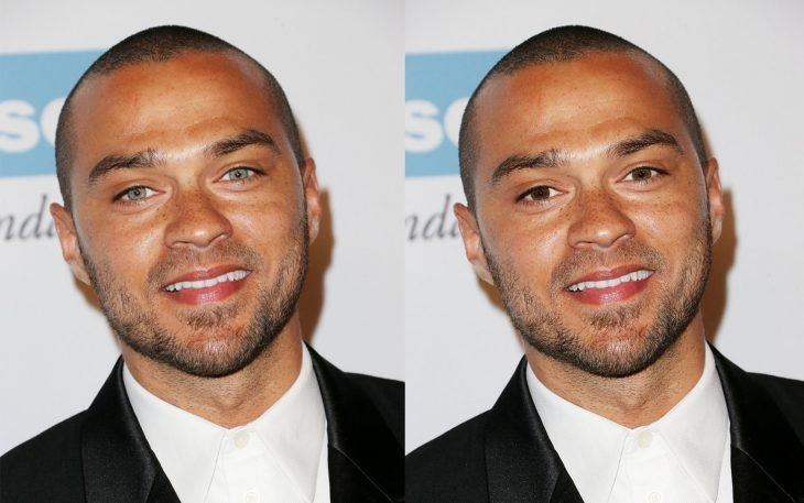 Jesse Williams con los ojos de color azul y después con los ojos de color verde