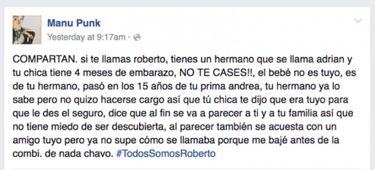 publicacion en facebook con hastagh #TodosSomosRoberto