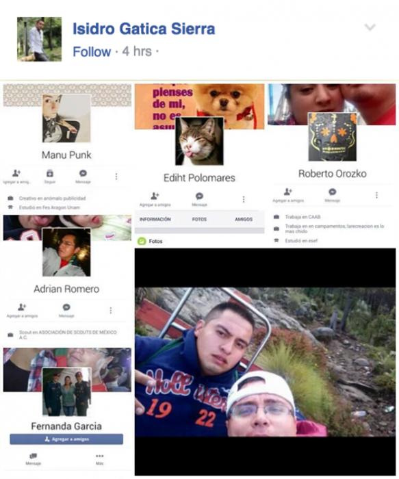 perfiles de facebook y fotografia de dos hombres uno con gorra y lentes
