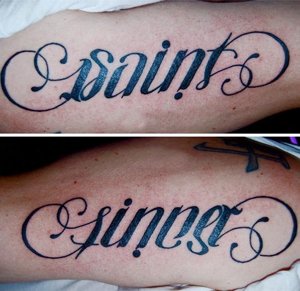 Tatuaje con un mensaje oculto cuando lo miras de otro ángulo