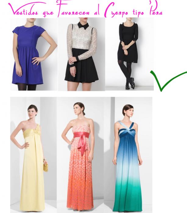 mujeres con vestidos largos y cortos figura de pera