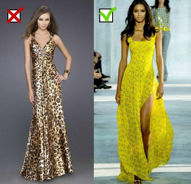 mujer de vestido de leopardo y mujer con vestido amarillo largo