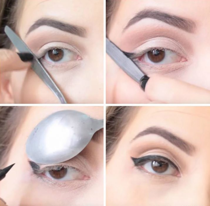 mujer con cuchara delineando sus ojos