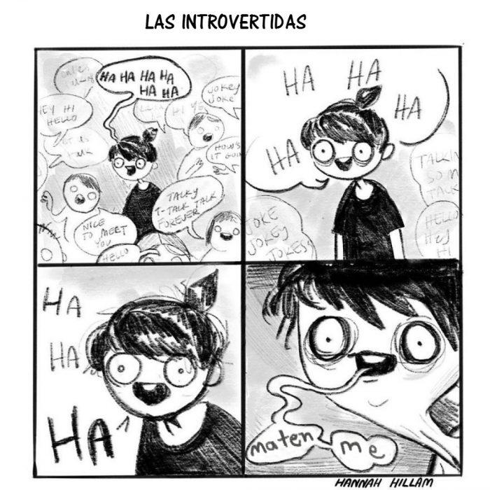 ilustración comic mujer introvertida en fiesta riendo