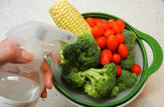 verduras rociadas con mezcla casera
